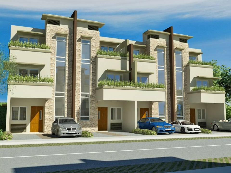 Modern zen three storeis townhouse house design in for 3 storey commercial building design