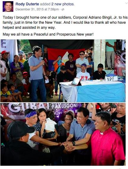 Scree Grab from Facebook Page of Rody Duterte